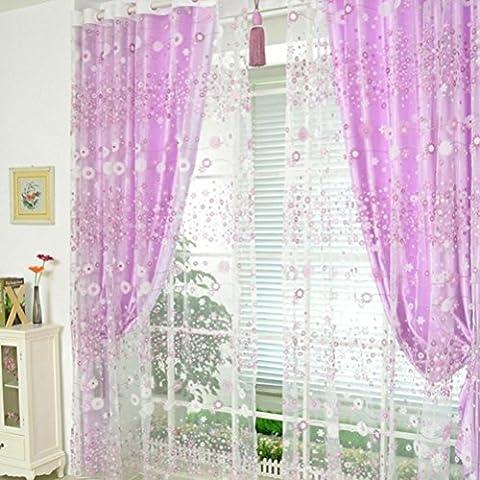 LCLrute Blütenblatt Vorhang Tüll Fenster Behandlung Voile Drapieren Valance 1 Stoff Stoff (Lila)