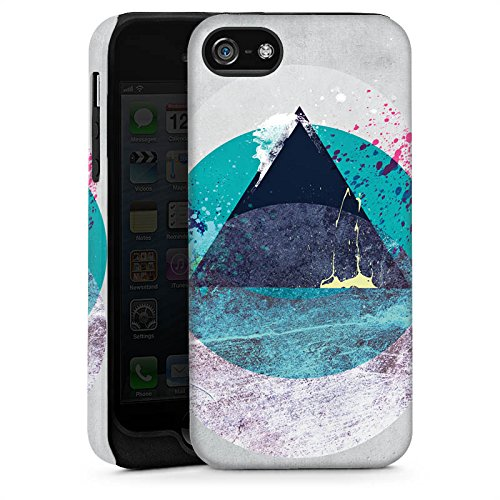 Apple iPhone 4 Housse Étui Silicone Coque Protection Cercle Triangle Triangle Cas Tough brillant