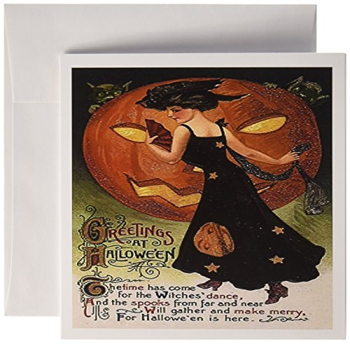 3drose Vintage Halloween Lady in Schwarz-Grußkarten, 15,2x 15,2cm, Set 12(GC 6039_ 2)