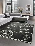 Teppich Sisal Optik Küchenläufer Küchenteppich Coffee schwarz weiß Größe 80x150 cm