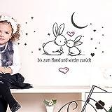 Grandora W5469 Wandtattoo 2-farbig Spruch Bis zum Mond und zurück Kinderzimmer Baby Kinder schwarz (BxH) 58 x 55 cm