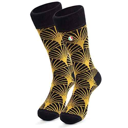 Goodlife Socks Herren Business Socken (1xPaar | 39-42 Schwarz/Gelb) Lange Haltbarkeit durch Bester Qualität (Hergestellt in Italien)