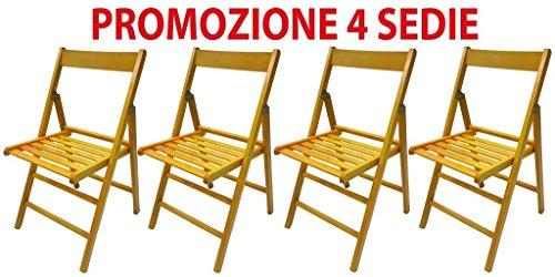 4Stühle faltbar Stuhl Bierzeltgarnitur aus Holz gelb klappbar für Camping-Zubehör