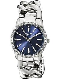 SO & CO New York 5071.2 - Reloj para mujeres, correa de acero inoxidable color plateado