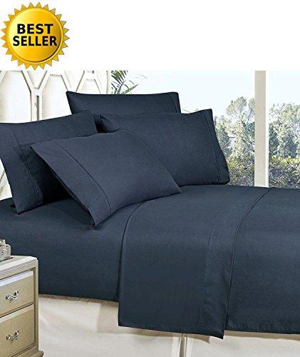 mattrest® Luxus seidig weich-knitterfrei 1500Fadenzahl Ägyptische Qualität Super Soft farbbeständige Bed Sheet Set und Kissenbezüge erhältlich, alle Größe und viele Farben, Mikrofaser, navy, California King