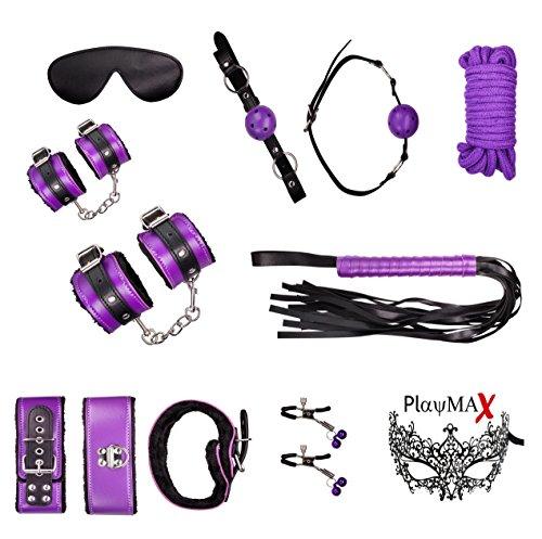 PlayMax© Deluxe Style Fessel Bondage Set für Beginner und Erfahrene Paare,aus Plüsch und Kunstleder,8 teilig,Handschellen,Augenmaske,Peitsche,SM,BDSM,Sex-Toy-Spielzeug,50 Shades