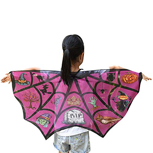 Ansenesna Halloween Kostüm Kinder Mädchen Jungen Fledermaus Wings Shawl Schals Poncho Kostüm Accessoire (Pfirsich rot)