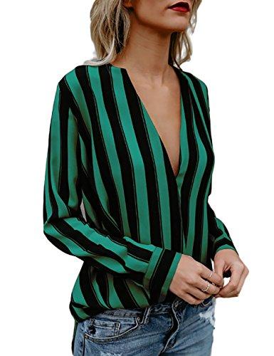 Boutiquefeel Damen Stripes Tief V Ausschnitt Langarm Casual Bluse Oberteile Grün L