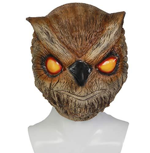 Mesky Cosplay Maske Halloween Mask Eule Masken aus Hotline Miami Vollkopfmaske Owl Latexmaske Khaki Game Zubehör für Party, Karneval und ()