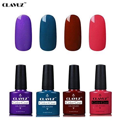 Set de Vernis à Ongles Semi-Permanent UV LED Soakoff 4pcs Kit Manucure 10ml de Clavuz-KIT 003