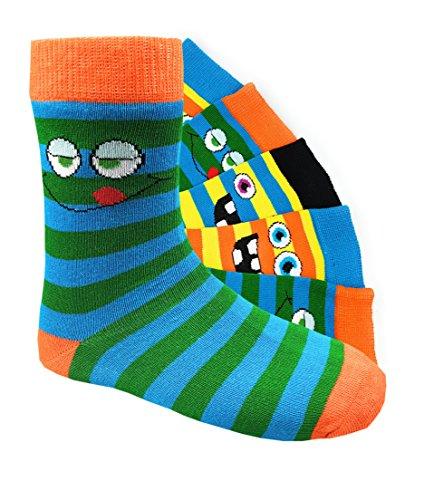 Kinder Socken handgekettelt Spitze ohne Naht 6 Paar aus besonders weicher Baumwolle bunter Mix Gr. 19-42 (23-26, Smileys Jungen)