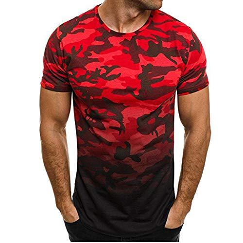 VENMO T-shirt Herren Space Crater Tee Neu Shirt Kurzarm Casual Top Slim Fit Kurzarmshirt Print Sommer Moderner MäNner Lustiges Fun Blouse Tops Hemd Hochwertiger(rot,XXL)