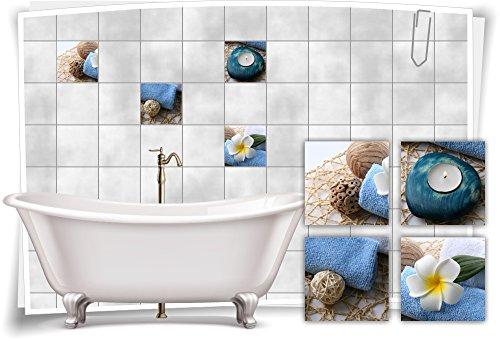 Medianlux Fliesenaufkleber Fliesenbild Plumeria Kerze Blau Wellness SPA Aufkleber Sticker Deko Bad WC, 20x20cm