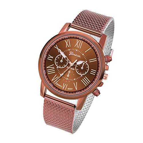 XZDCDJ Damen Uhr Armbanduhr Bracelet Jungen Uhr Luxusuhren Quarzuhr Edelstahl Zifferblatt Beiläufige Armbanduhr Kaffee 62 -