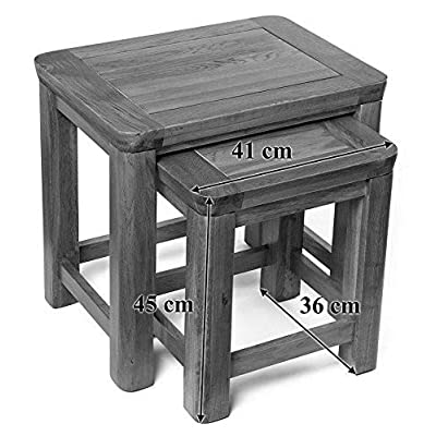 Hallowood London Solid Nest of Tables | Wooden Set of 2 Lamp/Coffee/Side Stand, Medium Oak, ZR116-2
