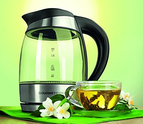gourmetmaxx 09861 Glas Wasserkocher mit Temperaturwahl | LED-Farbwechsel | 2200 Watt | Edelstahl | Wasserkessel | Wassererhitzer | Kessel | Heißwasserkocher - 9