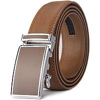 Xhtang -Cintura da uomo in Pelle con Fibbia Automatica e Sistema a Scorrimento, Larghezza:3,5cm