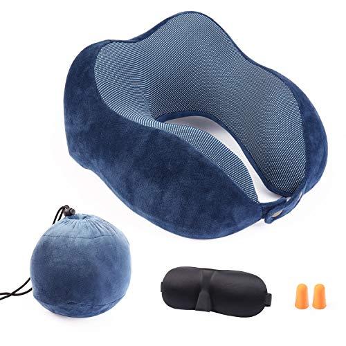 Aidodo Almohada de Viaje Espuma de Memoria Almohada de Cojín Terapéutica del Cuello Soporte en Forma U con Dormir Gafas y Tapones para los oídos para Avión Coche Tren Oficina Utilizar Azul