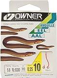Owner Aalhaken gebunden, Vorfachhaken für Aale, Angelhaken Monofiles Vorfach, Größen 10,12, 70cm...