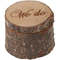 Veewon Natural Printed Rustic Shabby Chic Wedding Wooden Ring Bearer Box - We do
