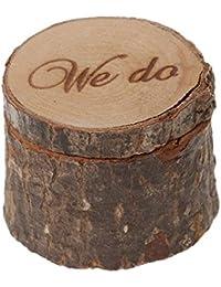 Caja Veewon para anillos de boda rústica, shabby chic, de madera con la leyenda