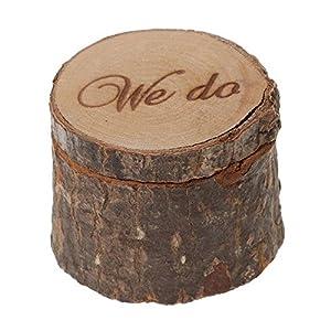 Veewon Natürliche Printed Rustic Shabby Chic Hochzeit Holz-Ring-Träger-Kasten – We Do