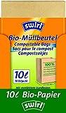 Swirl Bio-Müll-Papierbeutel, 10 Liter, 100% kompostierbar, 7 Rollen mit je 10 Beuteln