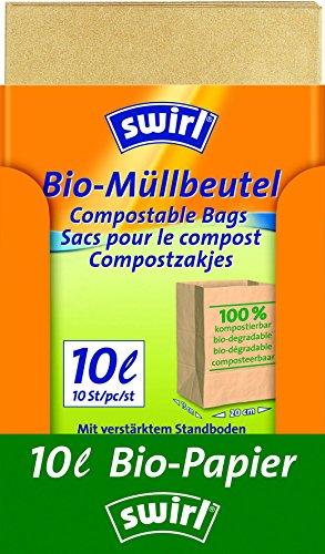 Swirl Bio-Müll-Papierbeutel, 10 Liter, 100{aea48f8dd747fadb1ef5e07be67a2dcb2e3140ec7a55f2b65ff3cf2b06299f5e} kompostierbar, 7 Rollen mit je 10 Beuteln