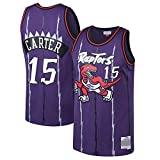 Uomo Donna Gilet da Basket NBA Raptors 15# Carter Jersey Canotte da Basket Estiva da Ricamo