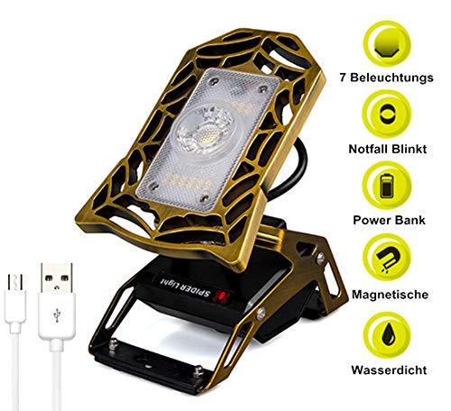 4 in 1 Superhelle LED Arbeitsleuchte Taschenlampe Camping Lampe und Blinklicht Wiederaufladbar Mit 10400mAh Power Bank und Magnet Basis Tragbare Handlampe Zeltlampe Werkstatt Tischlampe (Gold) (Camping-lampe Und Power Bank)