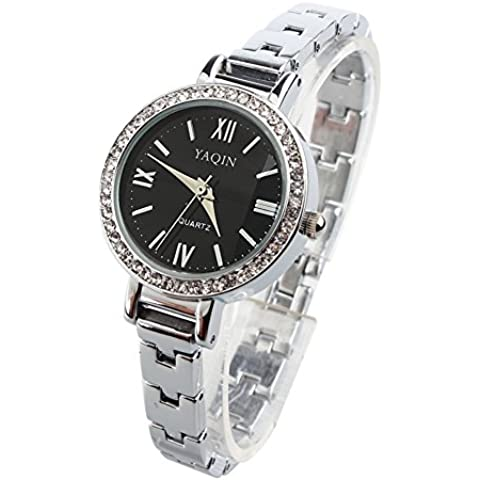 Da donna catena in metallo Bracciale Quadrante Nero Diamante - 20 Diamanti Womens Watch