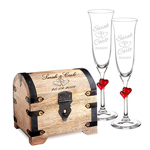 Casa Vivente Geschenkset zur Hochzeit - Sektgläser und große Schatztruhe mit Gravur - Motiv Herzen - Personalisiert mit Namen und Datum - Hochzeitsgeschenke für Brautpaar