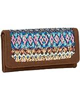 """SIX """"Sommer"""" braunes Portemonnaie im Ethno-Design, Blau, Rosa, Beige (419-325)"""