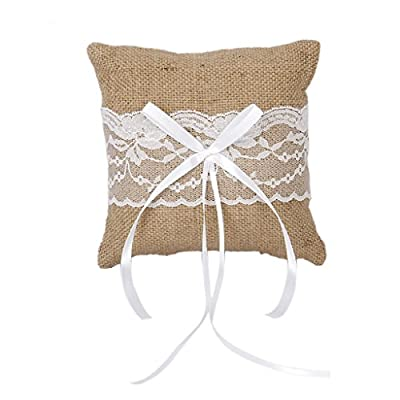 Wedding Pocket Ring Pillow Cushion Bearer Burlap Lace Rustic Style 15 x 15cm