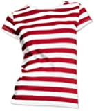 Where Lady in a Crowd Red & White Stripe Wally Like T-Shirt (UK 18-20 XL)