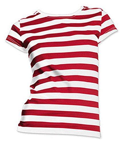 Lustiges Kostüm mit Wo ist Dame weiß-roter Gestreiftes Hemd Frau Tshirt (Medium) -