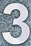 QT Modern House Number - SMALL 10.2 Centimeter - Brushed Stainless Steel (Number 3 Three), Floating Appearance, Easy to install and made of solid 304