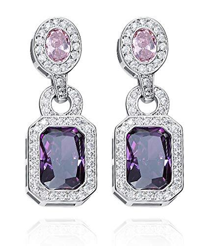 Blisfille Ohrringe Damen Indian S925 Sterling Silber 925er Silber Damen Mädchen Ohrringe Europäische Und Amerikanische Ohrringe Weibliche Kristallohrringe...
