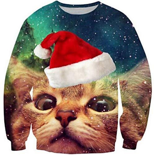 Goodstoworld Katze Pullover Weihnachten Lustig Damen Herren Funny Christmas Shirt 3D Ugly Xmas Pullover Sweater Cat Jumper S (Kostüm-ideen Für Billige Paare)