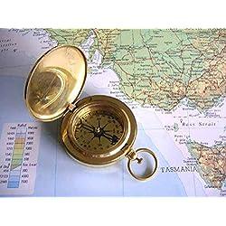Stunningly Beautiful Shiny Shiny Brass Ross London Nautical Theme Push Button Fliptop Pocket Compass. Marine / Scout / Hiking/ Adventure