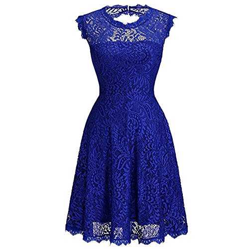 iBaste Elegante Vestito Vintage Donna Lace Senza Maniche Cocktail Dress per Partito / Casual Blu