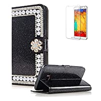 For Samsung Galaxy S6 Edge Cover [with Free Screen Protector],Funyye Premium Luxury Elegance [Diamond Pearl] Embedded Vintage charming Wallet lovely sparkly Case [Credit Card Holder Slots] Stand Function Book Type Durable PU Leather Shell for Samsung Gala