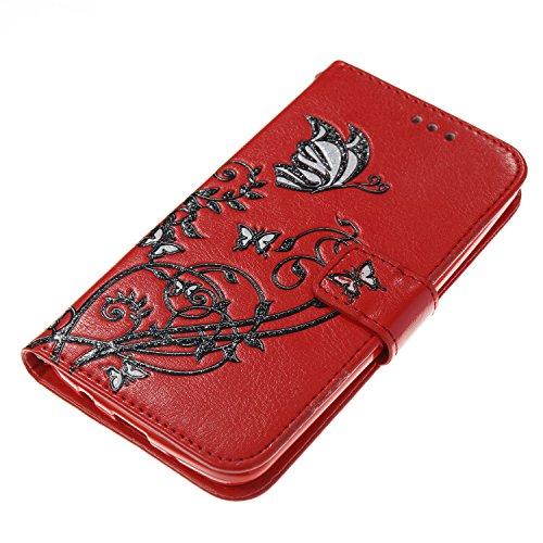 Hülle für LG K8, Tasche für LG K7, Case Cover für LG K8, ISAKEN Blume Schmetterling Muster Folio PU Leder Flip Cover Brieftasche Geldbörse Wallet Case Ledertasche Handyhülle Tasche Case Schutzhülle Hü Schwarz Blume Rot