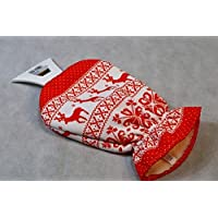Set 2 Kfz Eiskratzer Eisschaber Blau+Rot mit integr.Handschuh Norway Muster Neu