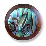 ISLAND PIERCINGS Design Ring aus Holz rund mit Abalone Perlmutt Holzring Muschel Handarbeit AR077-18mm