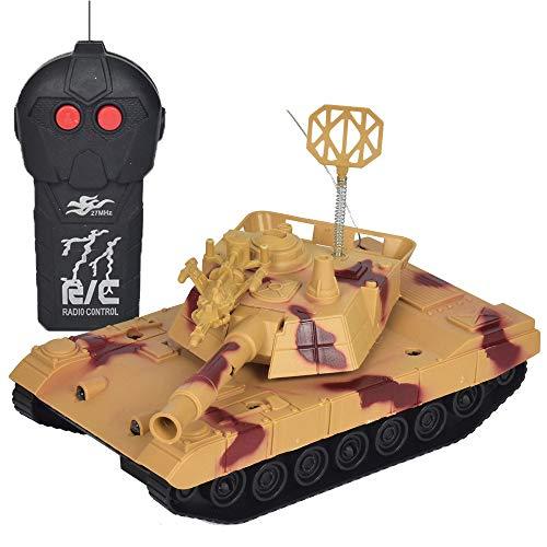 Wokee 1:16 2,4Ghz RC Tank mit Gefechtmodi 360 °Kunststoff RC Tank Modell BB Schießen,Battle Panzer mit Sound Rotierendem wenn Kanonenartillerie schießt (Gelb)