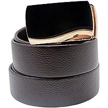 Cinturón de cuero, Boshiho de hombre de piel de trinquete cinturón hebilla automática marrón correa de cuero–Custom fit