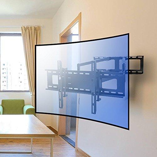 Vemount Universal TV Wandhalterung Fernseher LCD LED Monitor Wandhalterung Wandhalter Fernsehhalterung mit Doppelarm ausziehbar schwenkbar für flache und curved Bildschirme von 30-65 Zoll VESA 200x200 mm, 300x200 mm, 300x300 mm, 400x200 mm, 400x300 mm, 400x400mm und 600x400 mm