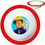 alles-meine GmbH Müslischale / Suppenteller / hoher Teller -  Feuerwehrmann Sam Jones  - Ø 16 cm - aus Melamin / Kunststoff - BPA frei - tiefer Frühstücksteller / Eßteller -..