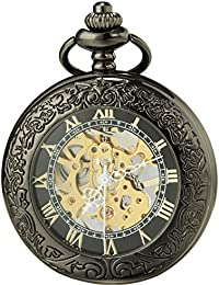 SEWOR vintage lente d' ingrandimento scheletro orologio da tasca meccanico mano vento orologio da tasca include marca del box (Nero & Oro)